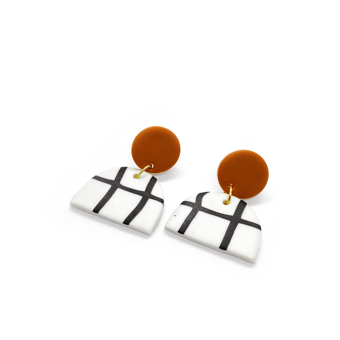 Grid Orange - earpartyph ear party ph polymer clay earrings philippines