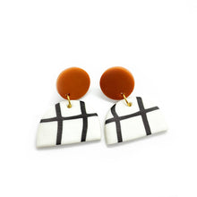 Load image into Gallery viewer, Grid Orange - earpartyph ear party ph polymer clay earrings philippines