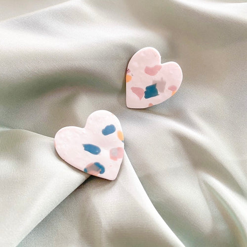Terrazo Heart - earpartyph ear party ph polymer clay earrings philippines