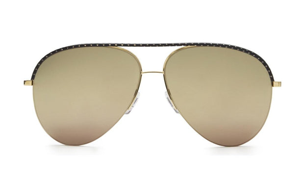 Victoria Beckham VBS90 C45 Classic Victoria Leather Aviator Sunglasses