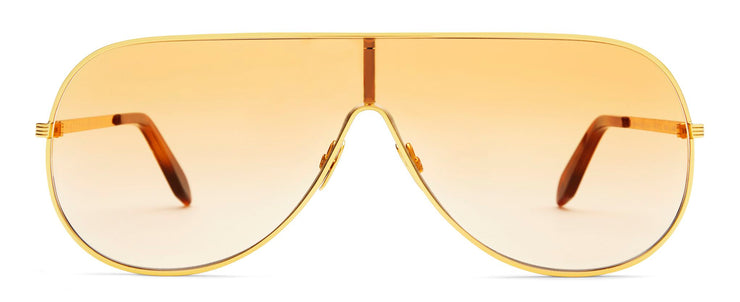 Victoria Beckham VBS138 C01 Grooved Metal Shield Sunglasses