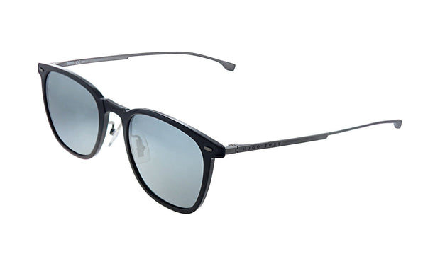 Hugo Boss BOSS 0 /S_0 Black Plastic Square Sunglasses Silver Mirror Lens