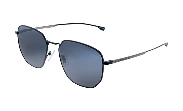 Hugo Boss BOSS 09 /F/S Matte Black Metal Square Sunglasses Grey Blue Lens