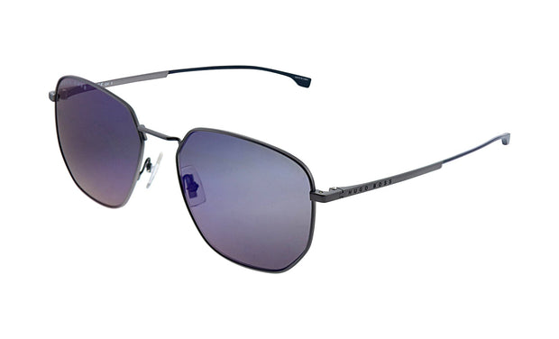 Hugo Boss BOSS 09 /F/S Grey Metal Round Sunglasses Blue Sky Mirror Lens