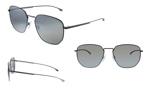 Hugo Boss BOSS 09 /F/S Matte Grey Metal Square Sunglasses Silver Mirror Lens