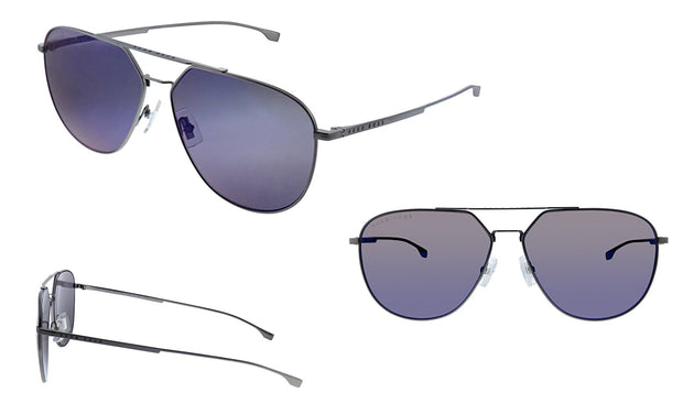 Hugo Boss BOSS 0994 /F/S Matte Grey Metal Aviator Sunglasses Blue Sky Mirror Lens