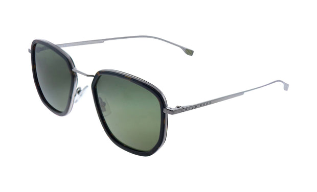 Hugo Boss BOSS 1 /F/S Dark Havana Plastic Rectangle Sunglasses Green Lens