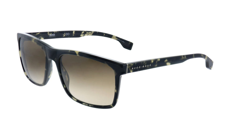 Hugo Boss BOSS 1 /S_W Black Havana Plastic Rectangle Sunglasses Brown Gradient Lens