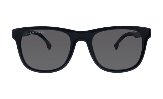 Hugo Boss BOSS 1 /S_8 Black Plastic Rectangle Sunglasses Grey Blue Lens