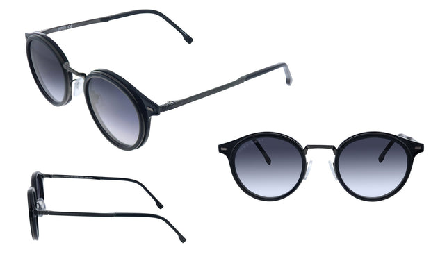 Hugo Boss BOSS 1 /S_8 Black Metal Oval Sunglasses Dark Grey Gradient Lens