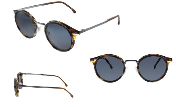 Hugo Boss BOSS 1 /S_E Brown Horn Metal Oval Sunglasses Grey Blue Lens