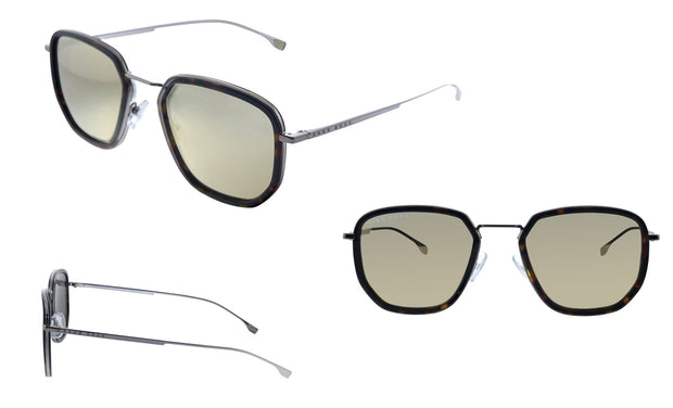 Hugo Boss BOSS 1 /F/S Dark Havana Metal Rectangle Sunglasses Gray Ivory Mirror Lens