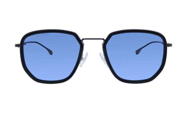 Hugo Boss BOSS 1 /F/S Black Metal Rectangle Sunglasses Blue Avio Lens