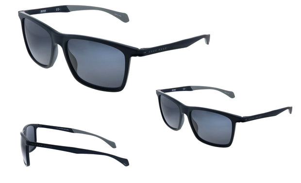 Hugo Boss BOSS 1 /S_0 Matte Black Plastic Rectangle Sunglasses Grey Blue Lens