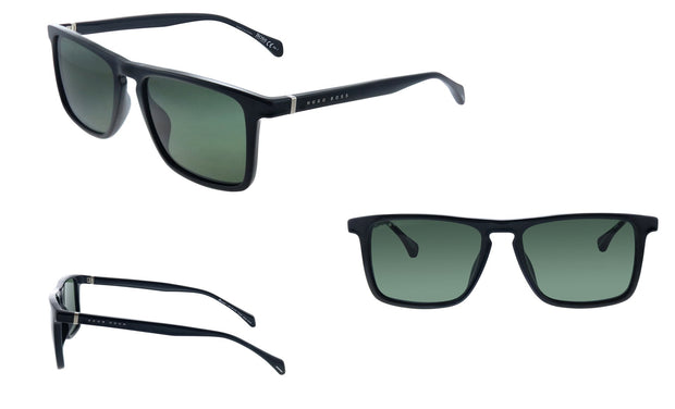 Hugo Boss BOSS 1 /S_8 Black Plastic Rectangle Sunglasses Green Lens