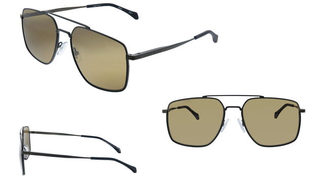 Hugo Boss BOSS 1 /S_S Black Metal Aviator Sunglasses Brown Lens
