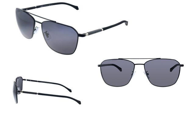Hugo Boss BOSS 1 /F/S Black Metal Aviator Sunglasses Grey Cp Pz Lens