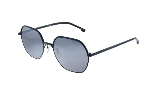 Hugo Boss BOSS 1 /F/S Black Metal Rectangle Sunglasses Silver Mirror Lens