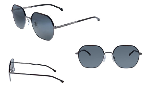 Hugo Boss BOSS 1 /F/S Matte Ruthenium Metal Rectangle Sunglasses Grey Blue Lens