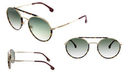 Carrera CA Car a208 Havana Metal Oval Sunglasses Green Gradient Lens