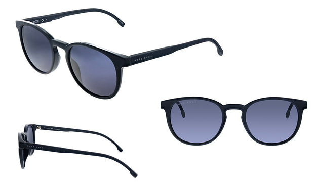 Hugo Boss BOSS 0 _807 Black Plastic Oval Sunglasses Grey Blue Lens