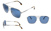 Carrera CA Carrer a130 Ruthenium Metal Rectangle Sunglasses Blue Lens