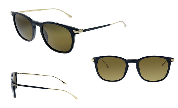 Hugo Boss BOSS 0 /S_2 Black Gold Plastic Square Sunglasses Green Lens