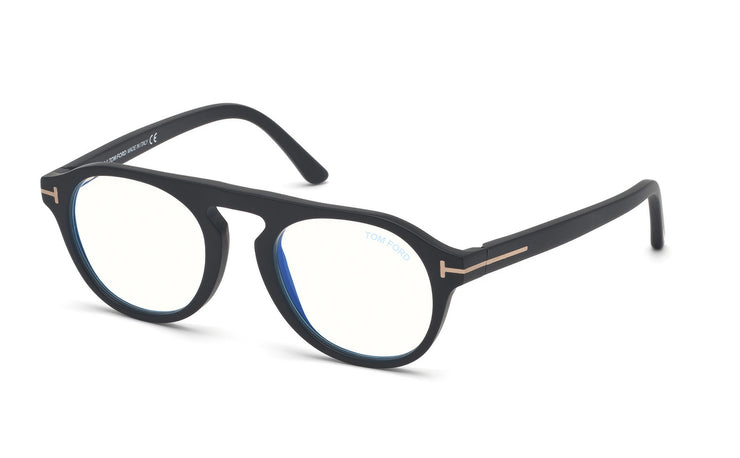 Tom Ford FT5533-B 02A Round Optical Blue Block Frames
