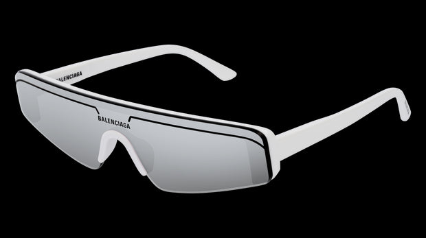 Balenciaga BB0003S Rectangle White/Silver Sunglasses
