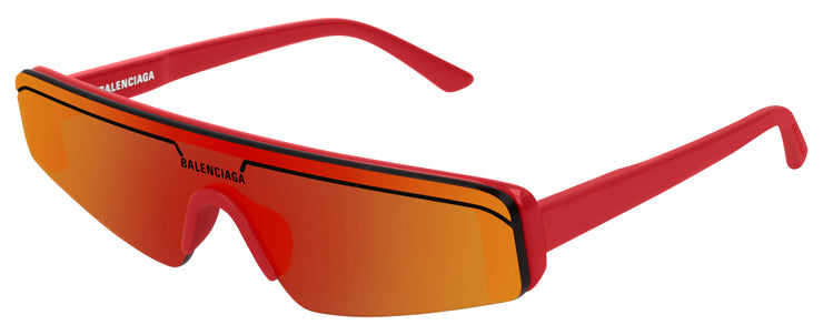 Balenciaga BB0003 Red/Red Rectangle Sunglasses