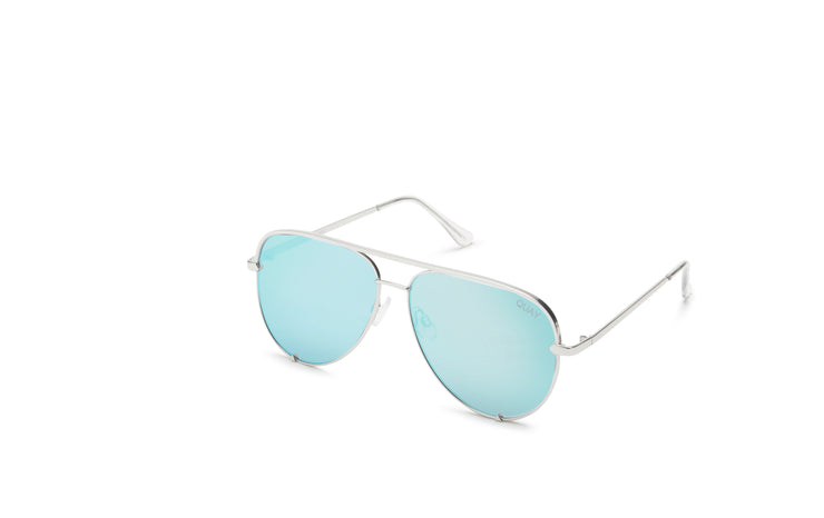 Quay Australia High Key Silver Aviator Sunglasses