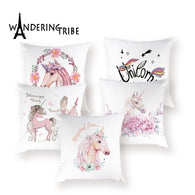 Cartoon Unicorn Cushion Cover Cute Animal Pillow Case Home Decor Polyester Covers Cushions  Horse Decorative Cushions for Sofa