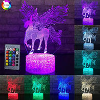 3W Remote Or Touch Control 3D LED Night Light Unicorn Shaped Table Desk Lamp Xmas Home Decoration  Lovely Gifts For Kids D30