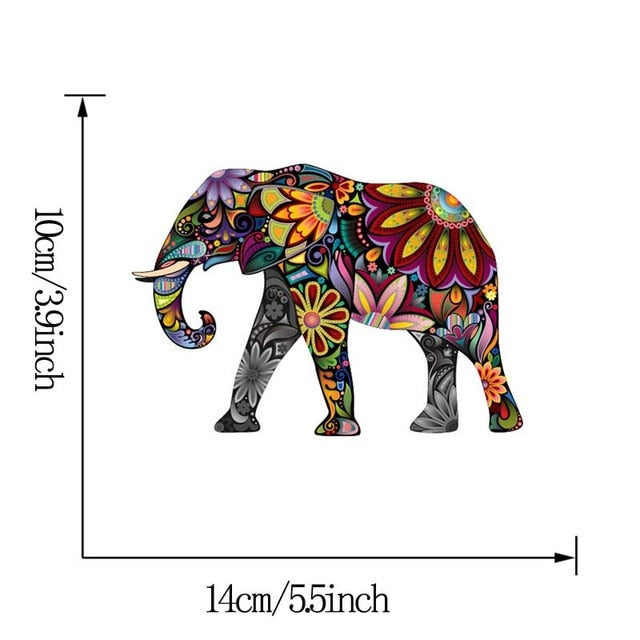 Colorful Elephant Horse Dog Cat Flower Animal Pattern Wall Sticker Removable Decal Home Decor Ethnic Unique style PVC Wallpaper