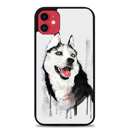 Custodia Cover iphone 11 pro max Happy Husky Dog S00159 Case