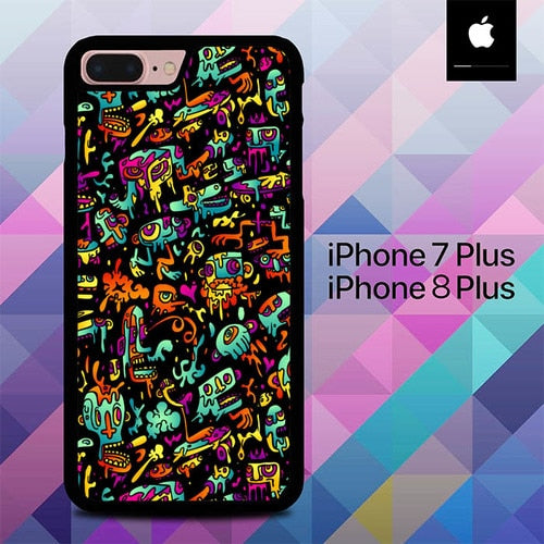 Custodia Cover iphone 7 plus 8 plus Abstract Doodle O0809 Case