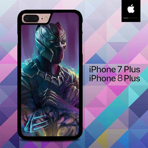 Custodia Cover iphone 7 plus 8 plus Black panther Wallpaper O6663 Case