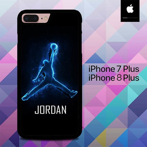 Custodia Cover iphone 7 plus 8 plus Air Jordan Logo Neon O7621 Case