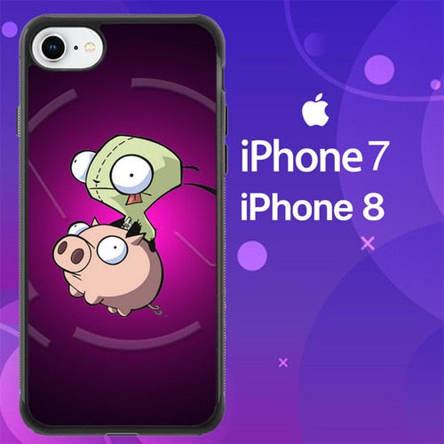 Custodia Cover iphone 7 8 Invader Zim Gir Piggy Z0620 Case