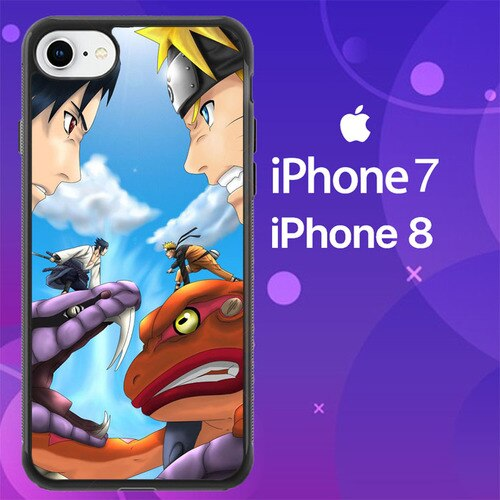 Custodia Cover iphone 7 8 sasuke uchiha vs naruto uzumaki final battle Z0687 Case