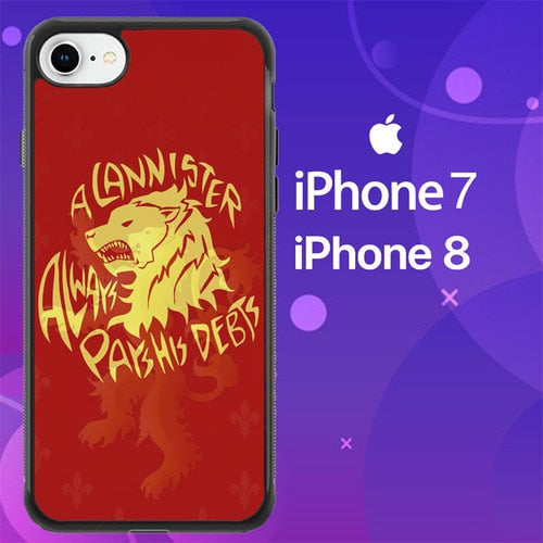 Custodia Cover iphone 7 8 HOUSE LANNISTERS SIGIL RED LION Z0711 Case