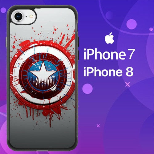 Custodia Cover iphone 7 8 Captain America Logo art Z1656 Case