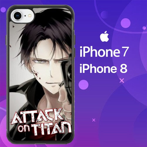 Custodia Cover iphone 7 8 attack on titan levi Z3645 Case