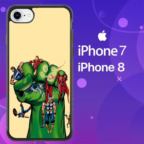 Custodia Cover iphone 7 8 Cartoon Hulk Z4089 Case
