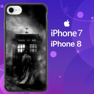 Custodia Cover iphone 7 8 DOCTOR WHO TARDIS POLICE BOX BLACK WHITE Z4363 Case