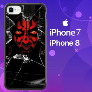 Custodia Cover iphone 7 8 star wars darth maul cracked Z4515 Case