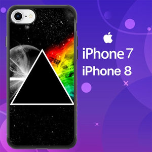 Custodia Cover iphone 7 8 Pink Floyd Prism Rainbows Dark Side Z5462 Case