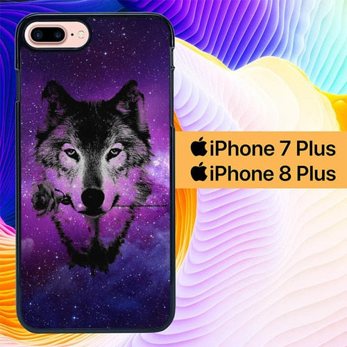 Custodia Cover iphone 7 plus 8 plus wolf art L0011a Case