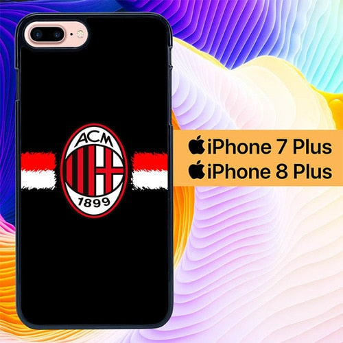 Custodia Cover iphone 7 plus 8 plus AC Milan Logo Simple L0103 Case