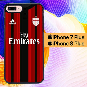 Custodia Cover iphone 7 plus 8 plus AC Milan Tshirt L0104 Case